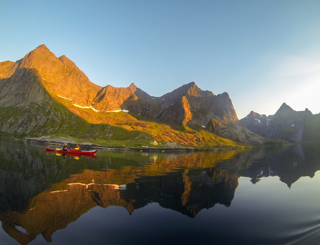 Kayaking in Reinefjord lofoten norway